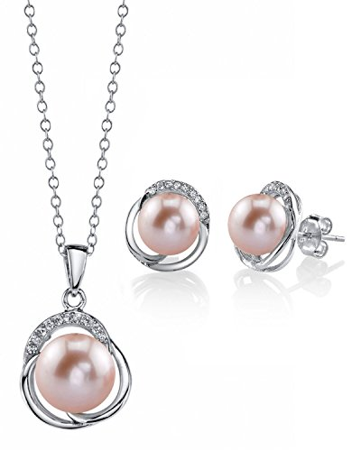 - THE PEARL SOURCE 8mm & 9mm Pink Freshwater Cultured Pearl & Cubic Zirconia Johnson Pendant & Earrings for Women
