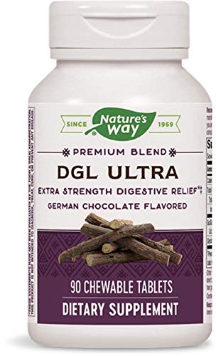 90 Chewable Tablets Bottle - Nature's Way, DGL Ultra, German Chocolate Flavored, 90 Chewable Tablets. Pack of 2 bottles
