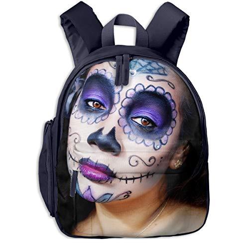 (Sugar Skull Halloween Makeup Girls Children School Bag Book Backpack Outdoor Travel Pocket Double)
