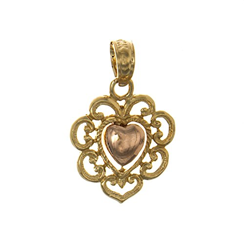 14k Two-Tone Gold Love Charm Pendant, Rose Heart with Lace Fringe