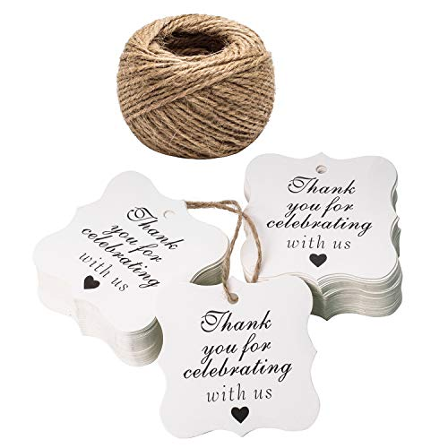 Paper Gift Tags Thank You for Celebrating with Us, Whaline 100 Pcs Paper Hang Tag for Wedding Party Favors, Baby Shower with 100 Feet Natural Jute Twine (Heart White)