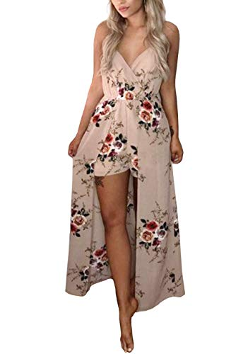 Dress Jumpsuit - Kbook Womens V-Neck Floral Print Split Beach Party Chiffon Maxi Romper Jumpsuit Dress, Large, Khaki