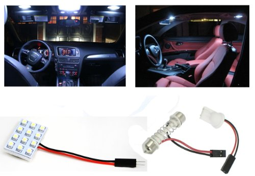 IG Tuning 12 LED Panel Xenon Pure White 3258-SMD Chip T10 Festoon Connector/Adapter, 12V Dome Car Interior Bulb Lamp