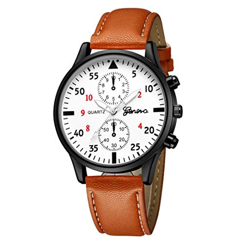 SheShiLs Men Military Watches Luxury Leather Alloy Analog Quartz Wrist Business Watches Brown 1