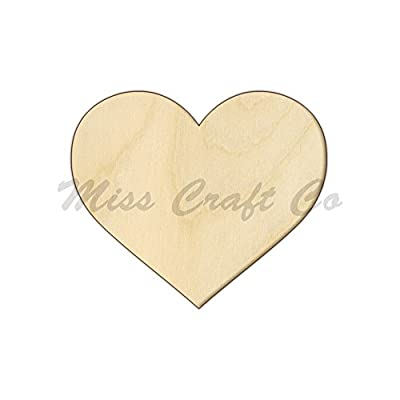Heart Wood Shape Cutout, Wood Craft Shape, Unfinished Wood, DIY Project. All Sizes Available, Small to Big. Made in the USA.