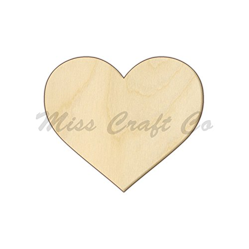 Heart Wood Shape Cutout, Wood Craft Shape, Unfinished Wood, DIY Project. All Sizes Available, Small to Big. Made in the USA. 12 X 12 - Small Wood Unfinished