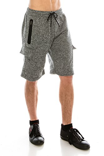 KlothesKnit Men's Classic Cargo Fleece Elastic Waist Sweat Shorts with Pockets Large Grey by KlothesKnit (Image #2)