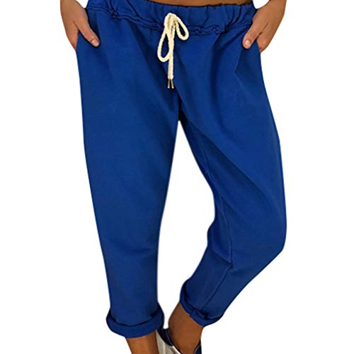 TIANMI Women's Casual Style Long Leggings Loose Sports Yoga Pants Long Jogging Pants Blue