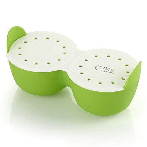 Egg Poacher, Cozzine Egg Cooker Silicone Egg Poaching Cups with Ring Standers, NonStick Boiled Egg Maker For Microwave or Stovetop Egg Cooking, BPA Free