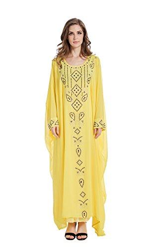 GladThink Women's Muslim Plus Size Chiffon Bat Sleeves Islamic Maxi Dress Yellow