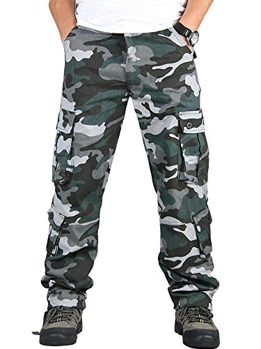 Mens Relaxed-Fit Cargo Pants Multi Pocket Military Camo Combat Work Pants Blue Camo 38-US 36