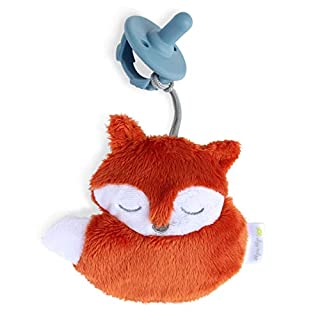 Itzy Ritzy Pacifier and Lovey Set; Detachable Plush Fox and Coordinating Blue Silicone Pacifier; Ideal for Ages 0 Months and Up, Fox