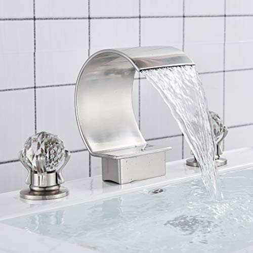 Rozin Widespread 8-inch and upwards Bathroom Tub Filler Faucet Arc Waterfall Spout 2 Knobs Vanity Basin Mixer Tap Brushed Nickel