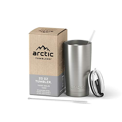 Arctic Tumblers Stainless Steel Camping & Travel Tumbler with Splash Proof Lid and Straw, Double Wall Vacuum Insulated, Premium Insulated Thermos - (Stainless Steel, 20 oz)