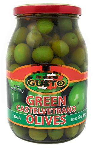Gusto Italian Whole Green Castelvetrano Olives 23 Ounce Jar