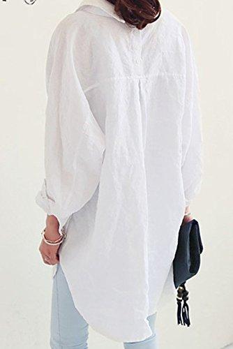 Donne Manica a Top Lungo Primavera Bluse Bianca Simple Casual Camicie Irregolare Moda Sciolto Risvolto Bottoni Basic Lunga Fashion Maglietta Tunica Maglie con qZEawqFI