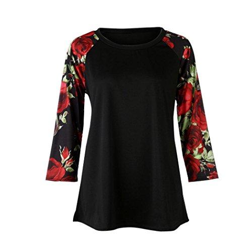 FNKDOR Mujeres Tops de tallas largas O-cuello de manga larga blusa de camisa de impresión floral Rojo