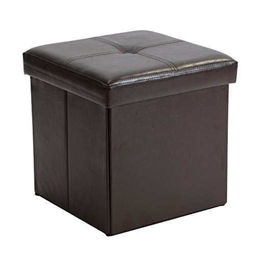 Kennedy Home Collection 15-Inch Fuax Leather Folding Ottoman, Chocolate - Chocolate Leather Bed