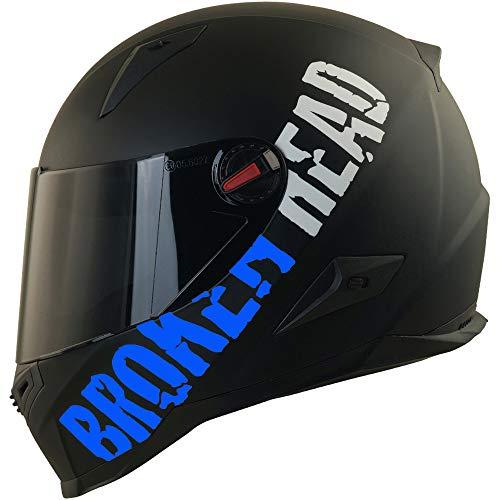 Broken Head BeProud Blau Ltd Motorradhelm – Schlanker Integralhelm Mit Schwarzem Zusatz-Visier – Matt-Schwarz – Größe S…