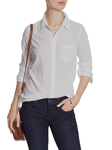 Banana Republic Womens Crinkle Classic Fit Button Down Shirt Top White