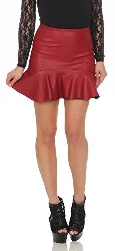 11044 Fashion4Young Damen Rock Minirock Rock Lederimitat Skirt Volantrock Damenrock Rot