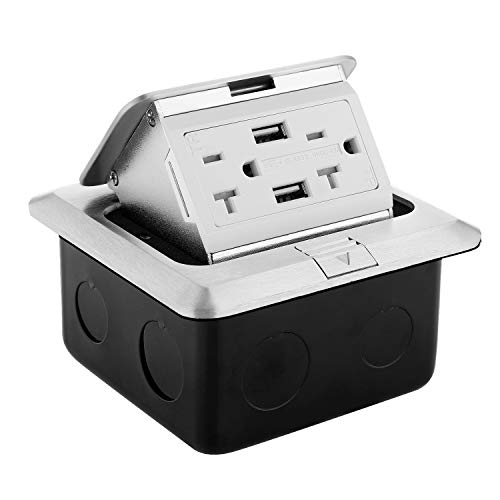 WEBANG Pop Up Floor Outlet Covers box with 20 Amp Stainless Steel USB TR Recaptacle outlet (Silver) by WEBANG (Image #7)
