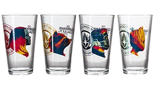 Guardians of the Galaxy Collectible Pint Glass Set, Groot, Star-Lord, Gamora and Rocket - Galaxy Gifts The Guardians Of