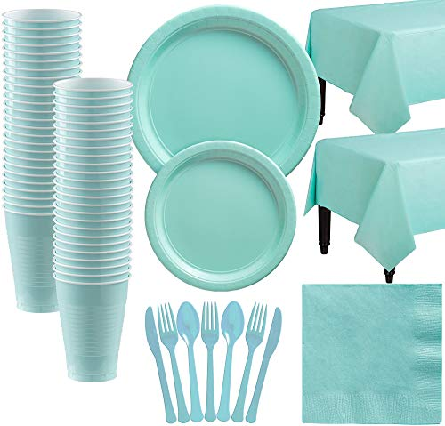 Party City Big Party Pack Robin's Egg Blue Paper Tableware Kit and Supplies for 50 Guests, Includes Table Covers (Egg Robin Blue Supplies Party)