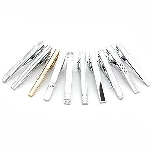 Zysta 10pcs Mixed Gentleman Stainless Steel Necktie Tie Clips Crystal Bar Set for Regular Ties 2.3 Inch