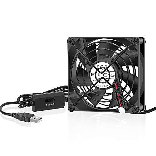 ELUTENG 80mm Fan with 3-Speed Control 5V USB Fan Quite Mini
