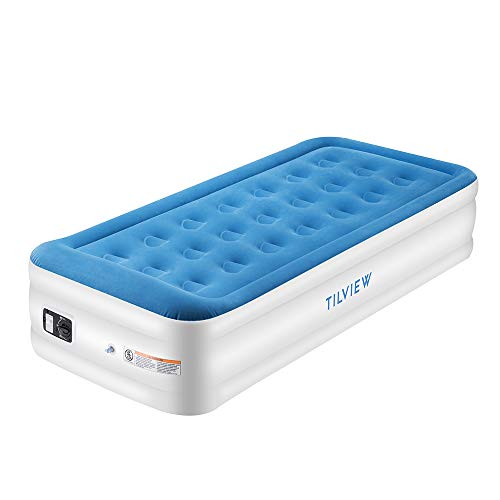 TILVIEW Twin Size Air Mattress Raised Air Bed Blow Up Elevated Inflatable Airbed with Built-in Electric Pump, Storage Bag and Repair Patches Included, Max Height 18.5 Inch, Blue, 2-Year Guarantee