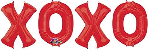 34'' XOXO Red Foil Balloon - 5 Pack