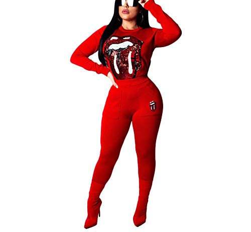 JUNBOON Womens 2 Piece Outfits Sequin Patchwork Long Sleeve Crop Top and Skinny Leggings Pants Sweatsuit Tracksuit Set