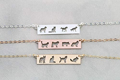 Four Pets Family Custom Dog BAR Necklace - IBD - Layering Charm - Personalize with Animal Breed - Choose Chain Length - 935 Sterling Silver 14K Rose Gold Filled - Ships in 1 Business Day
