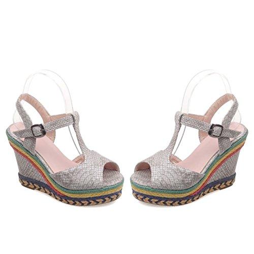 29b8f2f41 Lovely Zapatos de Mujer PU Primavera Verano Confort Tobillo Correa  Sandalias Tacón de Cuña Punta Abierta
