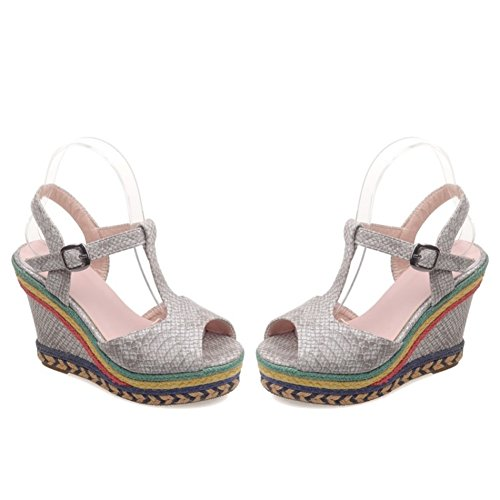 Shoes Black Color Sandals Yellow Beige Open Summer Toe Ankle Blue Wedge Casual Comfort Size Dress for 39 Women's Spring Heel D PU Strap gax0gHd