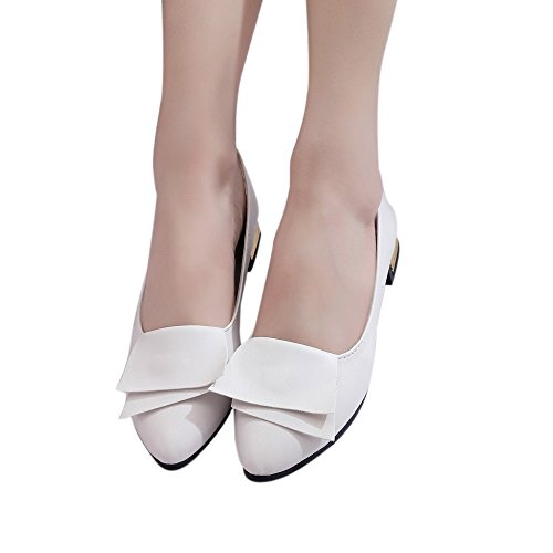 Price comparison product image Hemlock Women Office Shoes Flats Sandals Soft Wedding Flats Lady Boat Wedge Shoes (US:8,  White)