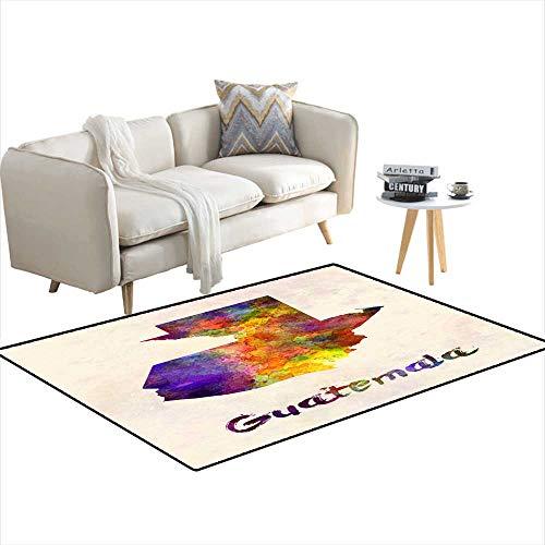 (Girls Bedroom Rug Guatemala map in Watercolor 36