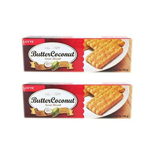 Lotte Butter Coconut Sweet Biscuits (2 Pack 3.53 oz, 100g (Coconut Sweet Cookies)