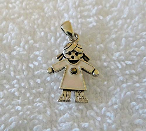 Pendant Light 1 Enchantment - Fine Charms 1 Sterling Silver 19x14mm Engraveable Girl Daughter with Light Pink Enamel