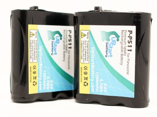2 Pack - P-P511 Battery (1200mah 3.6v NiMH) Replacement for Panasonic Cordless Phone Compatible with Panasonic KXTG2700S Panasonic KX-TG5100 Panasonic KX-TG5100M Panasonic HHR-P402