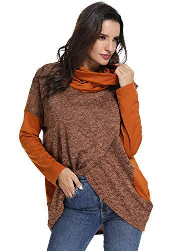 (YEVITA Women's Cowl Neck Tops Two Tone Color Block Pullovers Loose Long Sleeve Tunic)
