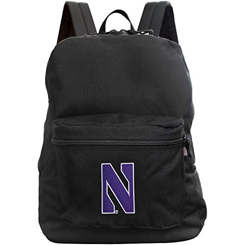 Denco NCAA Northwestern Wildcats Made in The USA Premium Backpack, 16-inches, Black