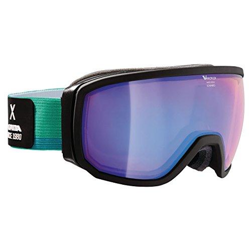 Alpina Masque de ski Scarabeo VMM multimirror Miroir anti-buée–Convient aussi pour verres correcteurs black mirror blue