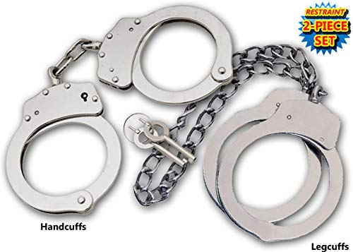 (Takedown Police Edition Professional Double Locking Handcuffs and Leg Cuffs Set Silver)