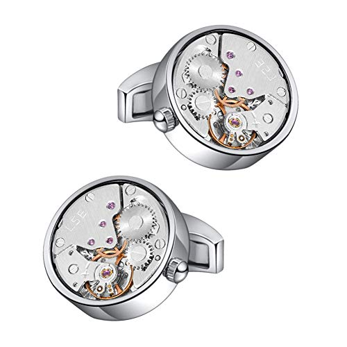 Cufflinks Silver Movement Watch - Mr.Van Watch Movement Cufflinks Silver Vintage Steampunk for Men's Father's Day Deluxe Gift