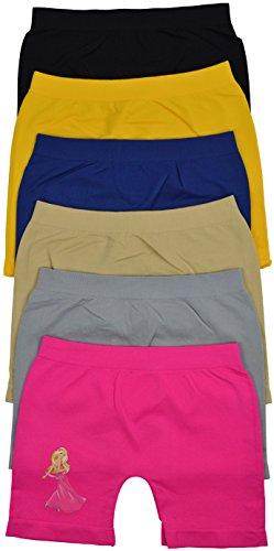 Her Boxer Shorts - ToBeInStyle Girl's Pack of 6 Long Boyshorts - Dancing Girl - Large