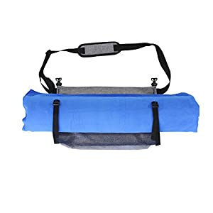 Vivafit Yoga Mat Bag - crossbody carrier for all sized yoga mats. Multi-purpose, waterproof sports sling with two zipper pockets for all essentials for a sporty and active lifestyle.