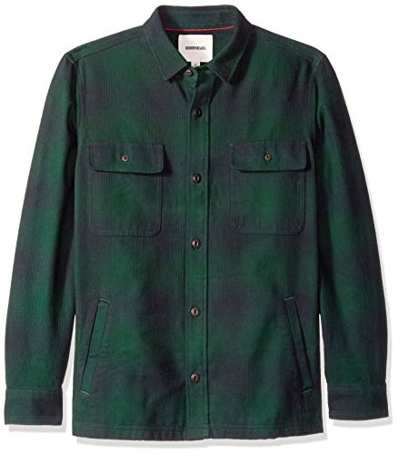 Goodthreads Men's Heavyweight Flannel Shirt Jacket, Green Buffalo Plaid, Large