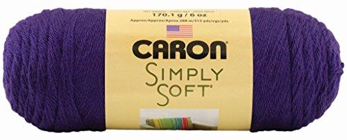 Caron Simply Soft Solids Yarn, 6 Ounce, Purple, Single Ball
